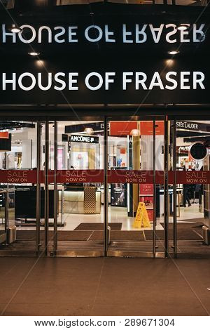 London, Uk - March 9, 2019: Entrance To House Of Fraser Store On Oxford Street, London. House Of Fra