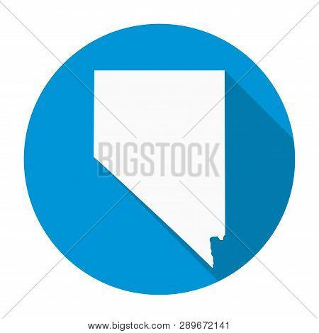 Nevada State Map Flat Icon With Long Shadow Eps 10 Vector Illustration.
