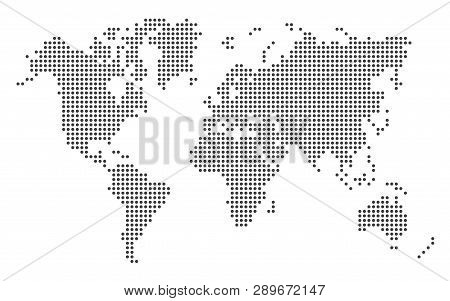 Dotted World Map Template Eps 10 Vector Illustration On White Background.