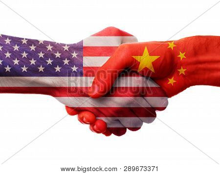 Usa And China Bilateral Political Relations And Cooperation Concept With American Flag And Chinese F
