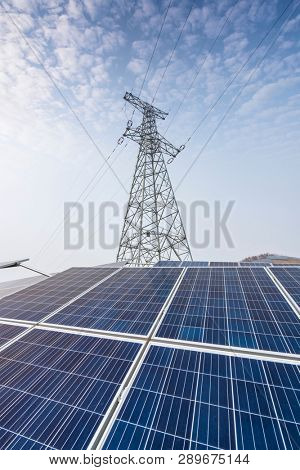 Solar energy modern electric power production in gas and oil industry plant, renewable energy concept.