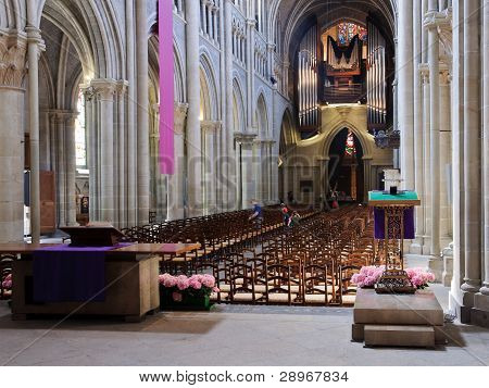 Lausanne Cathedral Interior From The Back.