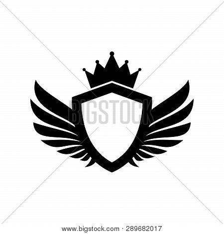 Shield Wing Logo With Crown, Wing Logo, Luxury Wings Vector, Wings Logo Vector, Wings Icon, Wing Vec