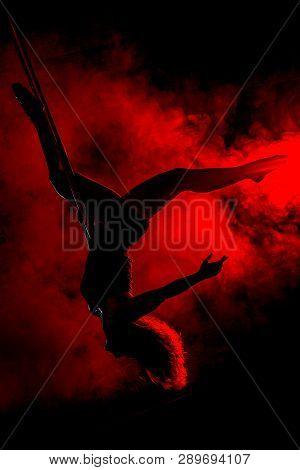 Pole Dance Girl Silhouette With Smoke