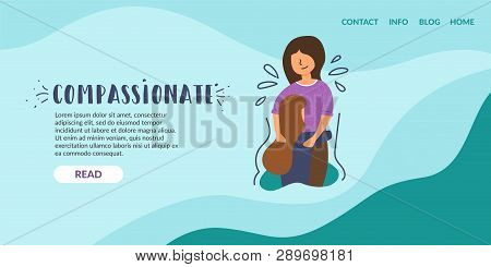 Vector Flat Banner Mom Comforts Daughter Girl Crying Sympathy Regret Empathy. Service Anonymous Call