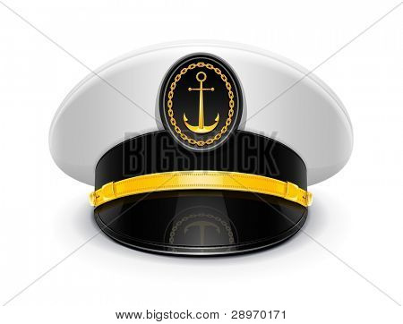captain peaked cap with cockade vector illustration isolated on white background EPS10. Transparent objects used for shadows and lights drawing
