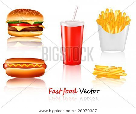 Big group of fast food products. Vector.