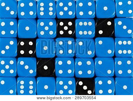 Pattern Background Of Random Ordered Blue Dices With Five Black Cubes