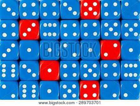 Pattern Background Of Random Ordered Blue Dices With Five Red Cubes