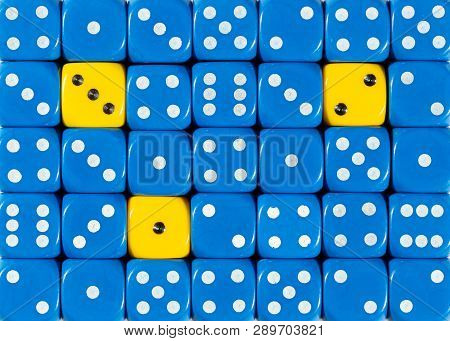 Pattern Background Of Random Ordered Blue Dices With Three Yellow Cubes