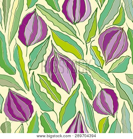 Hand Drawn Line Art Flowers And Leaves In Hues Of Purples And Greens. Seamless Vector Repeat In Scre