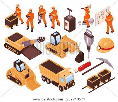 Isometric Set Of Icons With Mining Machinery And Miners Isolated On White Background 3d Vector Illus