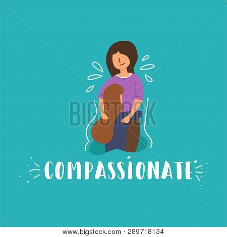 Vector Flat Banner Compassion Mom Soothes Daughter Girl Crying Mom Strokes His Head Love In Family S