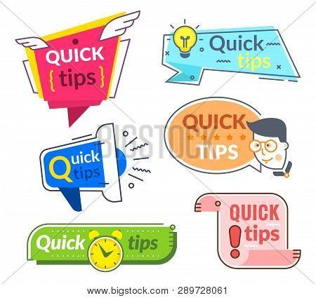 Quick Tip Labels. Tips And Tricks Suggestion, Quickly Help Advice. Helpful Service Vector Banners Se