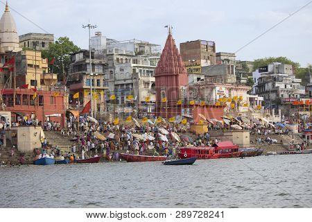 Varanasi, Uttar Pradesh, June 2015, Pilgrims At Dashashwamedh Ghat.