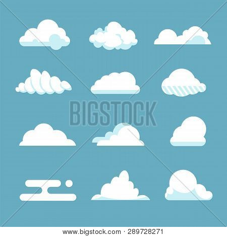 Flat Sky Cloud. Blue Fluffy Cartoon Shapes White Atmosphere Cloudy Elements Vintage Abstract Overcas