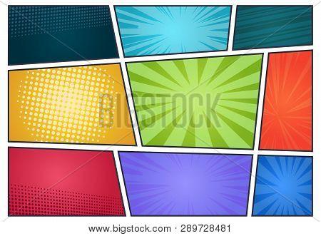 Comic Book Background. Pop Art Retro Page Style, Halftone Cartoon Effect, Comics Frames Cover. Vecto