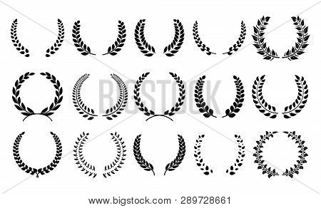Silhouette Laurel Wreath. Heraldic Trophy Crest, Greek And Roman Olive Branch Award, Winner Round Em