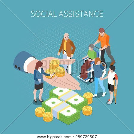 Social Security Unemployment Benefits Unconditional Income Isometric Composition With Conceptual Ima