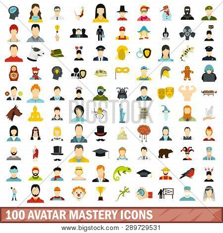 100 Avatar Mastery Icons Set In Flat Style For Any Design Illustration