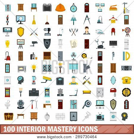 100 Interior Mastery Icons Set In Flat Style For Any Design Illustration