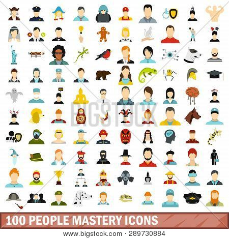 100 People Mastery Icons Set In Flat Style For Any Design Illustration