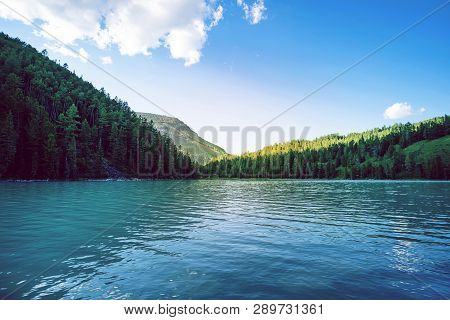 Mountain Lake Kucherlinskoe From Above, Altay, Russia. Beautiful Mountain With Turquoise Water Betwe