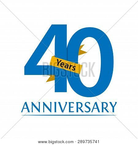Forty Years Anniversary Paper Isolated. Anniversary Template Design For Web, Game ,creative Poster,