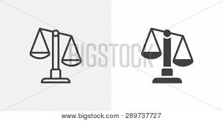 Justice Scale Icon. Line And Glyph Version, Outline And Filled Vector Sign. Scales Balance Linear An
