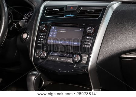 Novosibirsk, Russia - March 15, 2019:  Nissan Teana,close-up Of The Dashboard, Adjustment Of The Blo