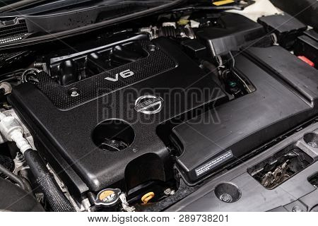 Novosibirsk, Russia - March 15, 2019:  Nissan Teana,close-up Of The Engine, Front View. Photography
