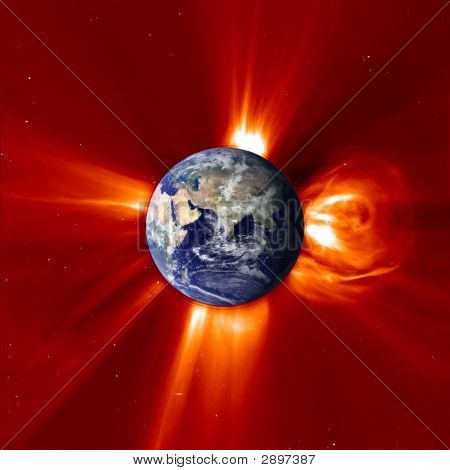 Global Warming - View Of Eastern Earth & Solar Flare