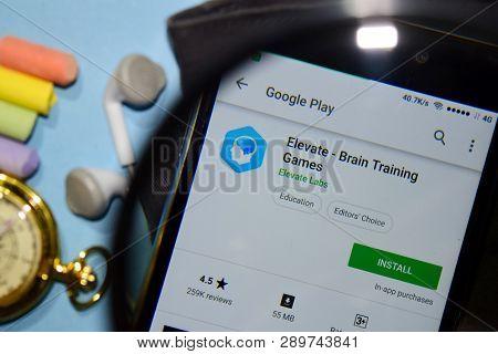 Bekasi, West Java, Indonesia. March 16, 2019 : Elevate - Brain Training Games Dev App With Magnifyin