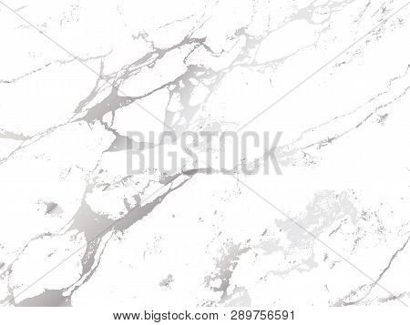 Marble Silver Shiny Texture. Vector Modern Background With Silver Decoration. Classy Trendy Cover.