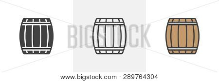 Wooden Keg, Barrel Icon. Line, Glyph And Filled Outline Colorful Version, Beer Barrel Outline And Fi