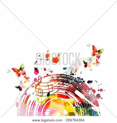 Music Background With Colorful Vinyl Record And Music Notes Vector Illustration Design. Artistic Mus