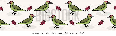 Cute Woodpecker Cartoon Seamless Vector Border Background. Hand Drawn