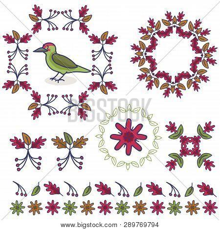 Cute Woodpecker Cartoon Vector Illustration Motif Set.