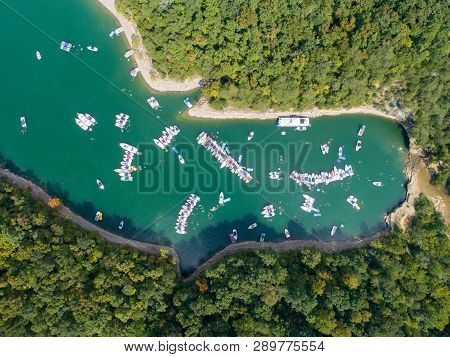 An Aerial View Of Boaters Attending The 2017 Lake Cumberland Raft-up Event On Near The Shinbone Area