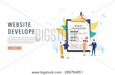 The Design Of The Web Site. Website Specification Web Banner Template. Flat Vector Illustration. Web