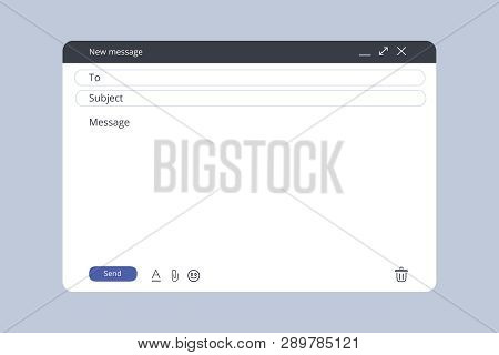 Email Template. Blank E-mail Browser Window. Mail Message Web Page Vector Frame. Vector Stock Illust