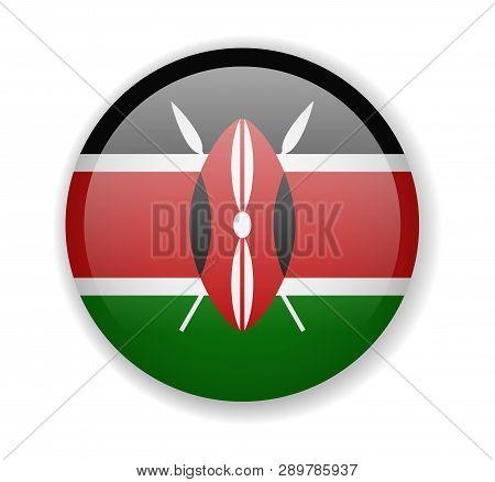 Kenya Flag Round Bright Icon On A White Background