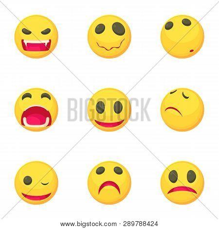 Funny Emoji Icons Set. Cartoon Set Of 9 Funny Emoji Icons For Web Isolated On White Background