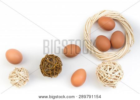 Happy Easter. Eggs Isolated On White Background. Balls, Wreath Woven From The Vines. Copy Space For