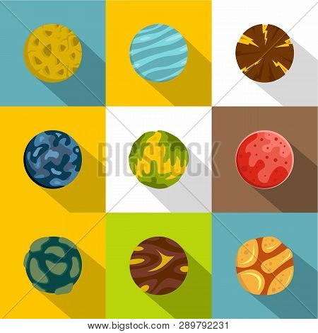 Mystery Planet Icon Set. Flat Style Set Of 9 Mystery Planet Icons For Web Design