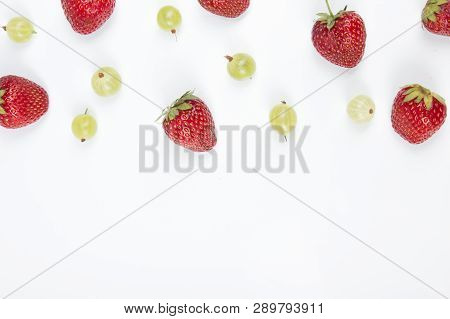 Various Summer Fresh Berries In A White Background.. Antioxidants, Detox Diet, Organic Fruits. Top V