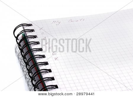 Goals list isolated on white