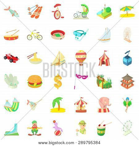 Tour Icons Set. Cartoon Style Of 36 Tour Icons For Web Isolated On White Background