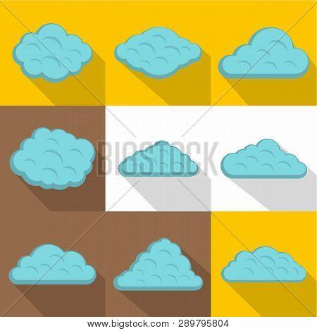 Storm Cloud Icon Set. Flat Style Set Of 9 Storm Cloud Icons For Web Design