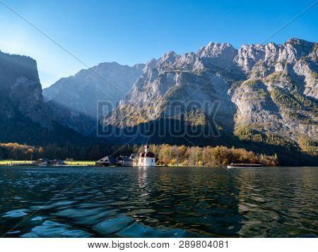 Image Of The Koenigssee With The Chapel Of St Bartholomew And A Tourist Boat. In The Background The